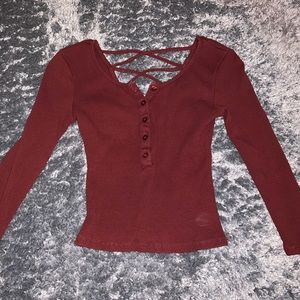 Maroon Button-Down Top